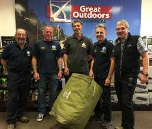 Handing over the tent - Steve Old and other members of the Mountain Rescue Team with Tim from Vango and Alan from Great Outdoors Superstore