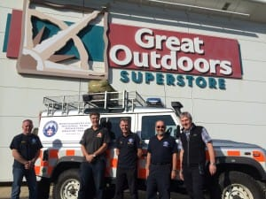 The team outside Great Outdoors Superstore