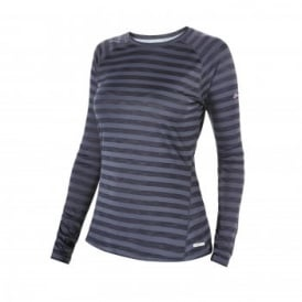 Ladies Tech Stripe Long Sleeve Top Off Width Blue Stripe