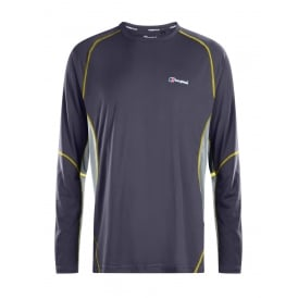 Mens Tech Tee Long Sleeve Crew Base Top Carbon/Quarry