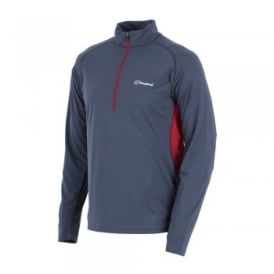 Mens Tech Tee Long Sleeve Zip Base Top Carbon/Extreme Red