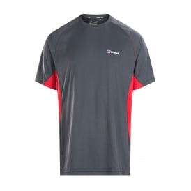 Mens Tech Tee Short Sleeve Crew Top Carbon/Extreme Red