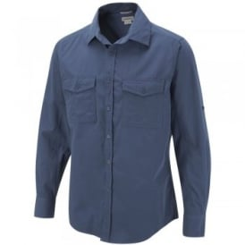 Mens Kiwi Long Sleeve Shirt Faded Indigo