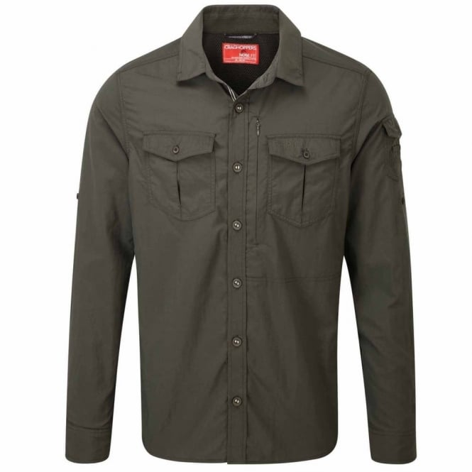 Craghoppers Mens Nosilife Adventure Long Sleeve Shirt Dark Khaki