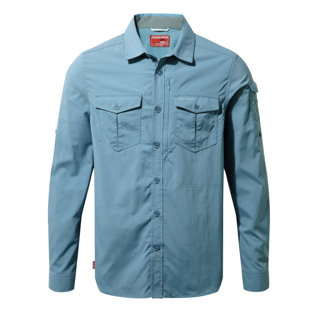 Craghoppers Mens Nosilife Adventure Long Sleeve Shirt Smoke Blue ... a775d5236ee4