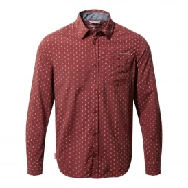 Mens Nosilife Todd Long Sleeve Shirt Carmine Red