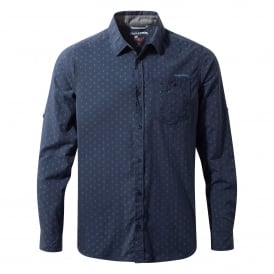 Mens Nosilife Todd Long Sleeve Shirt Night Blue