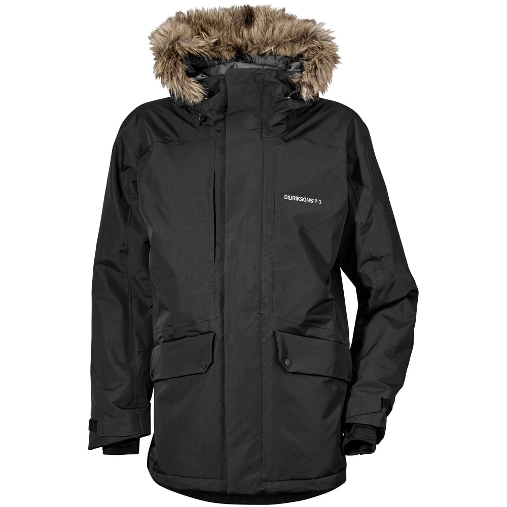 225d55c48334 Didriksons Mens Marc Parka Black - Mens from Great Outdoors UK