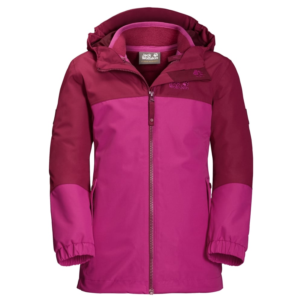 361ab1c2df5 Jack Wolfskin Girls Iceland 3 in 1 Jacket Fuchsia - Kids from Great ...
