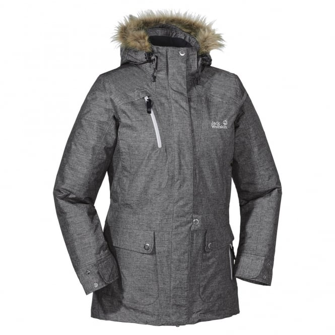 Jack Wolfskin Ladies Grey Heather Birch Lake Parka