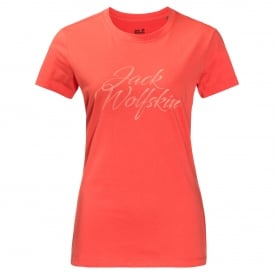Ladies Brand T-Shirt Hot Coral