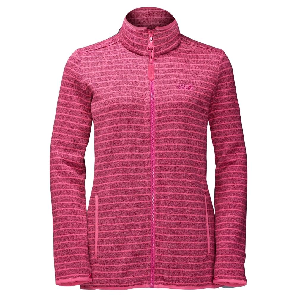 ammattimainen myynti miten ostaa upea ilme Jack Wolfskin Ladies Caribou Striped Fleece Jacket Hot Pink