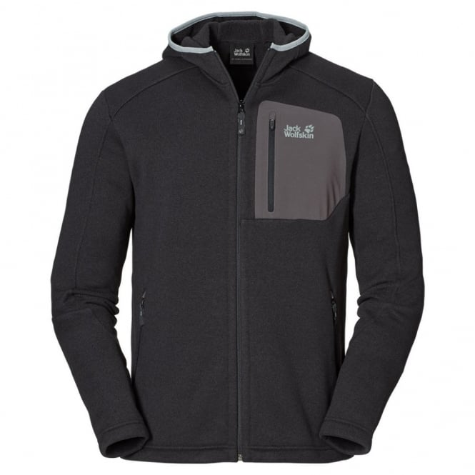release date: e3201 127ce Jack Wolfskin Mens Caribou Hooded Fleece Jacket Black