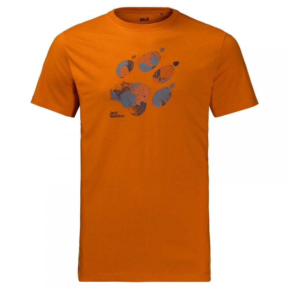 0e0b99b660 Jack Wolfskin Mens Marble Paw T-Shirt Desert Orange - Mens from ...