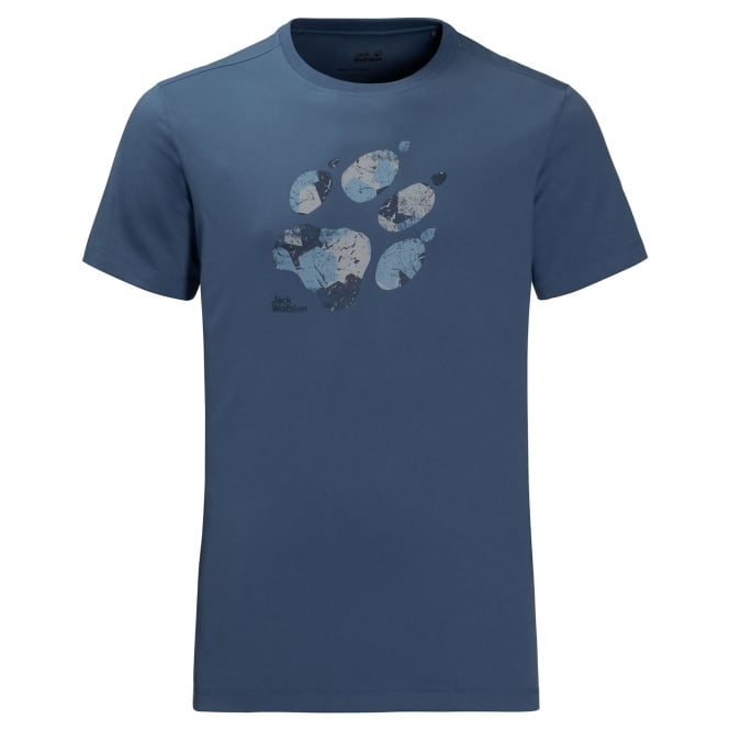 Jack Wolfskin Mens Marble Paw T-Shirt Ocean Wave