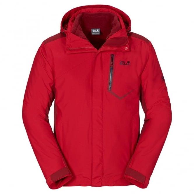 de goedkoopste groothandel outlet online Jack Wolfskin Mens Prisma 3-1 Jacket Red Fire
