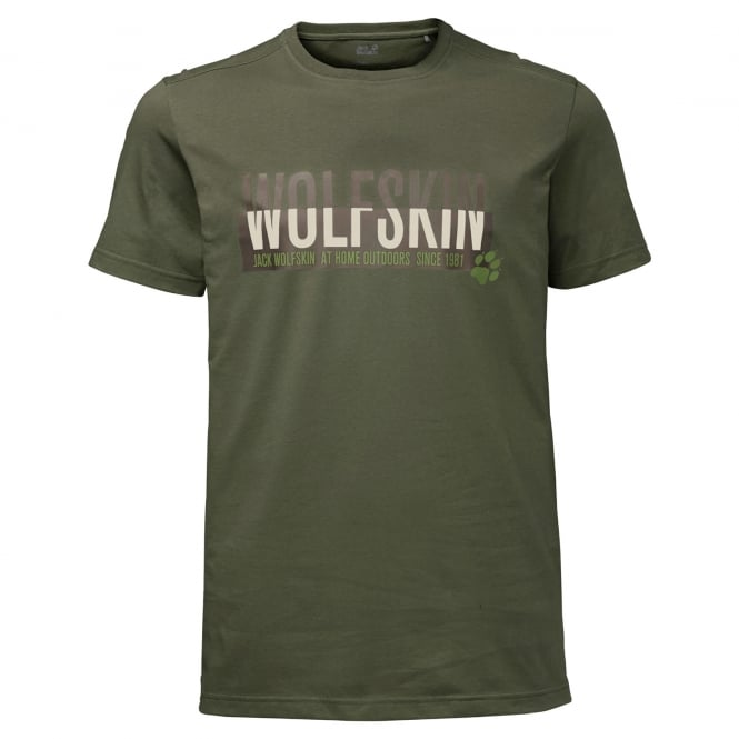 Jack Wolfskin Mens Slogan T-Shirt Woodland Green