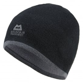 Mens Plain Knitted Beanie Black/Shadow