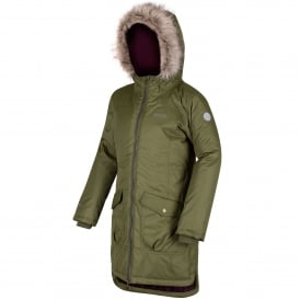 Girls Hollybank Parka Camo Green