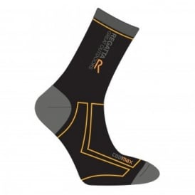 Mens 2 Season Coolmax Trek & Trail Sock Black/Gold Heat