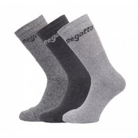 Mens 3 Sock Pack Grey Marl