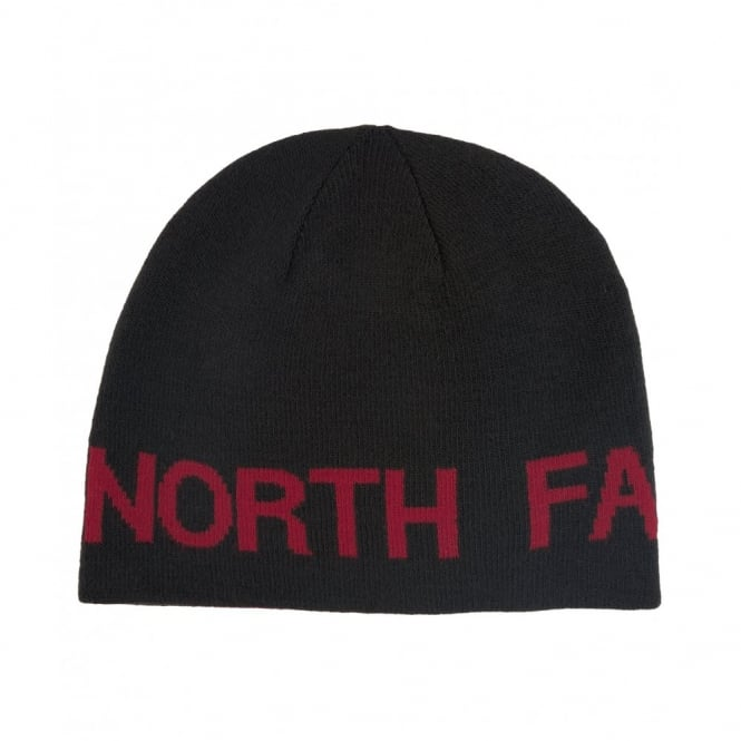 7ac8498da8a29 The North Face Reversible TNF Banner Beanie Hat Black Rage Red