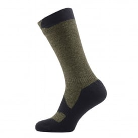 Mens Walking Thin Mid Sock Olive