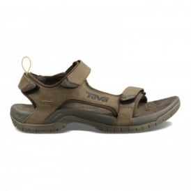 Mens Tanza Leather Sandal Brown