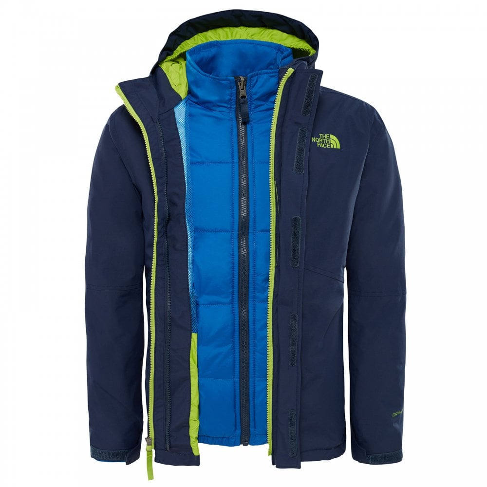 698450b2a33 The North Face Boys Boundary Triclimate Jacket Cosmic Blue Lime ...