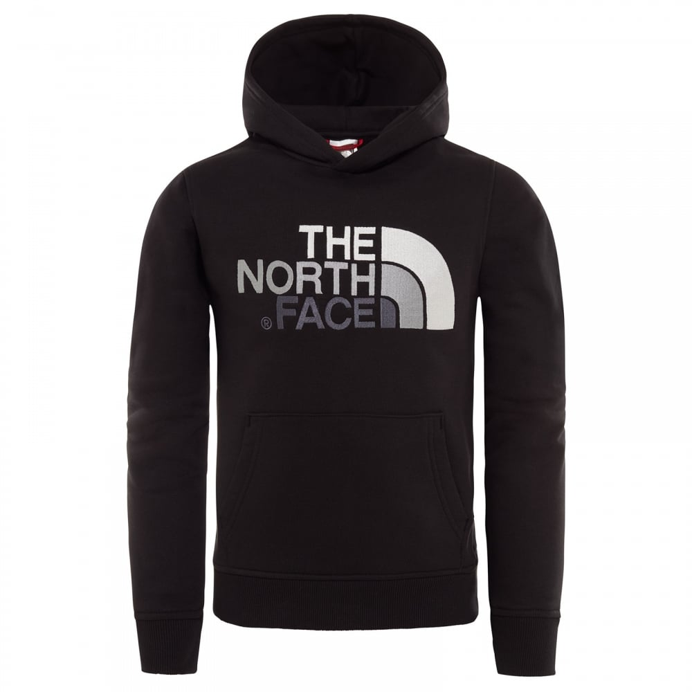 The North Face Drew Peak Boys Hoody Tnf Black Mid Grey All Sizes