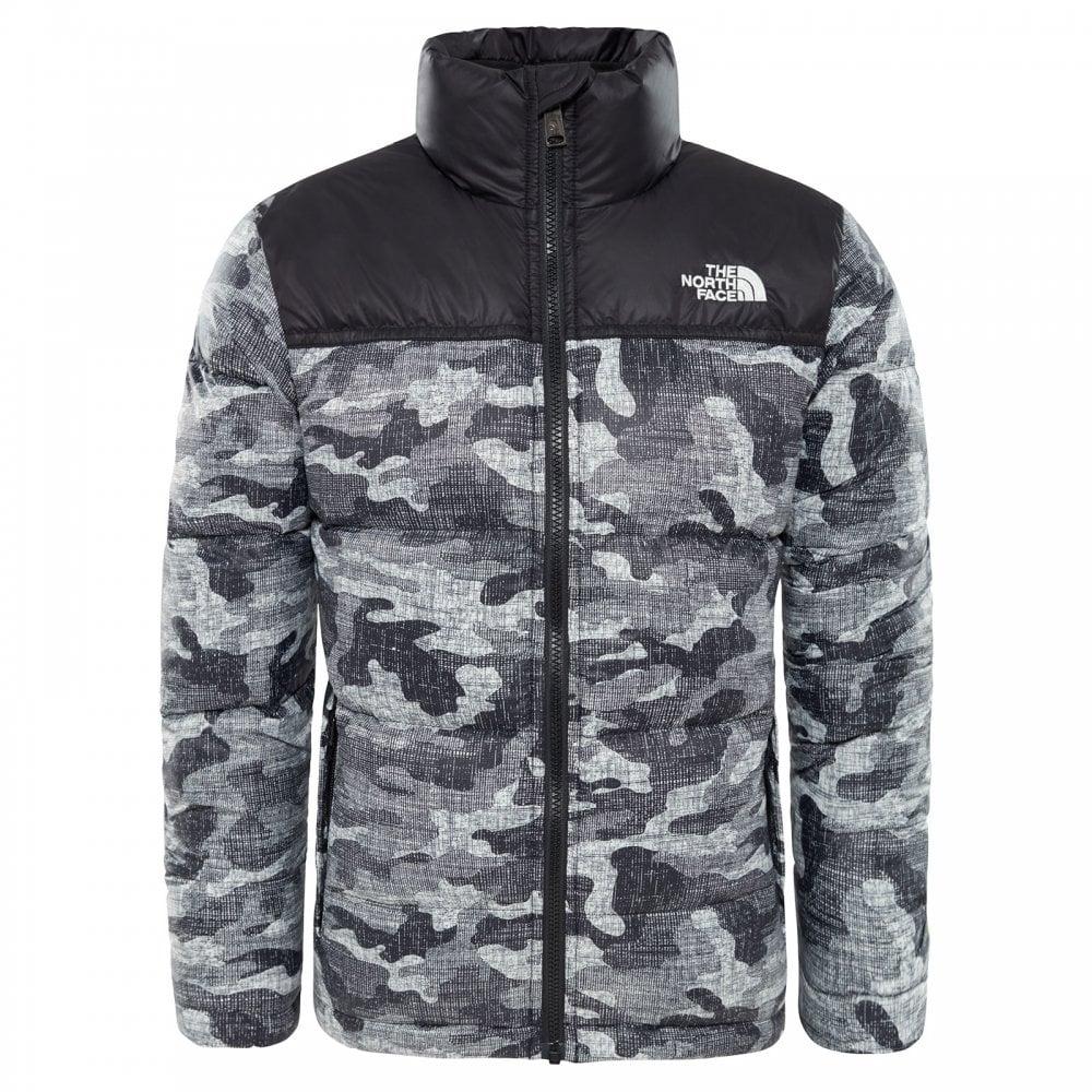 c4741d1cfa The North Face Boys Nuptse Down Jacket TNF Black Textured Camo Print ...