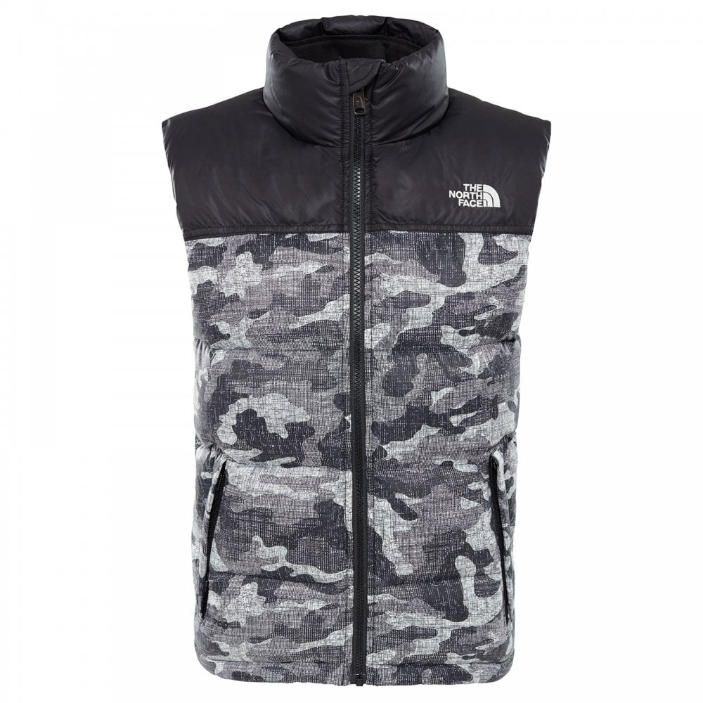 a96b2f3858 The North Face Boys Nuptse Down Vest TNF Black Textured Camo Print ...