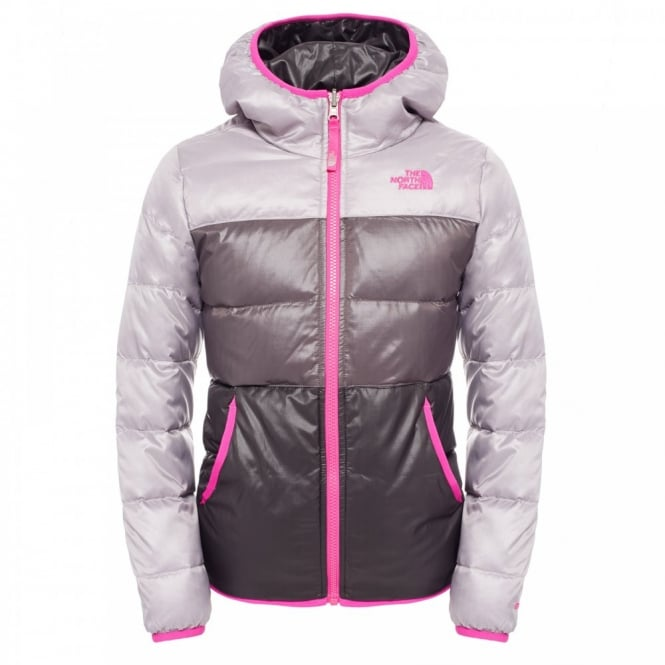 14322d1e2 The North Face Girls Reversible Moondoggy Jacket Metallic Silver