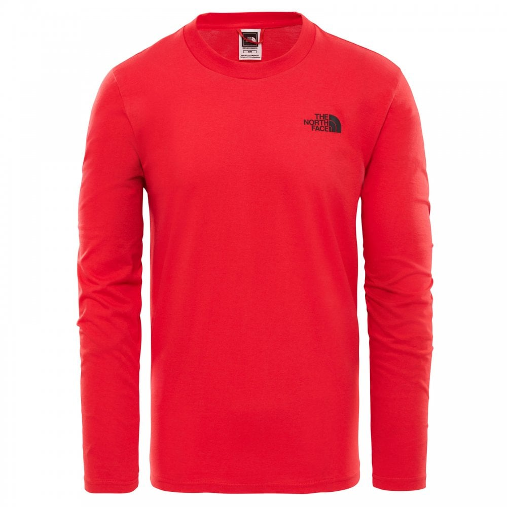 The North Face Mens Long Sleeve Easy T-Shirt TNF Red TNF Black ... 5209ba01c04