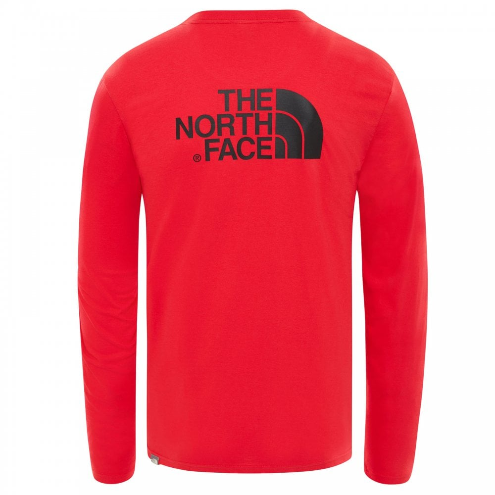 59a8149b The North Face Mens Long Sleeve Easy T-Shirt TNF Red/TNF Black ...