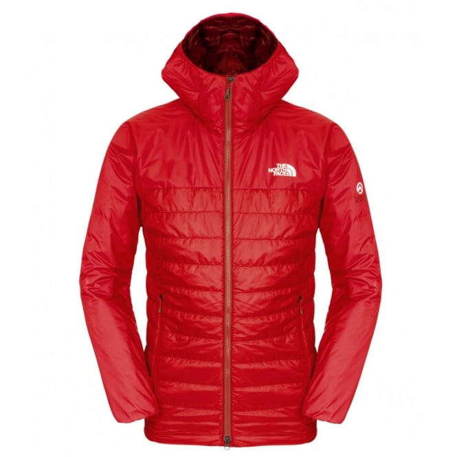 The North Face Mens Victory Hooded Jacket Salsa Red Tnf Black