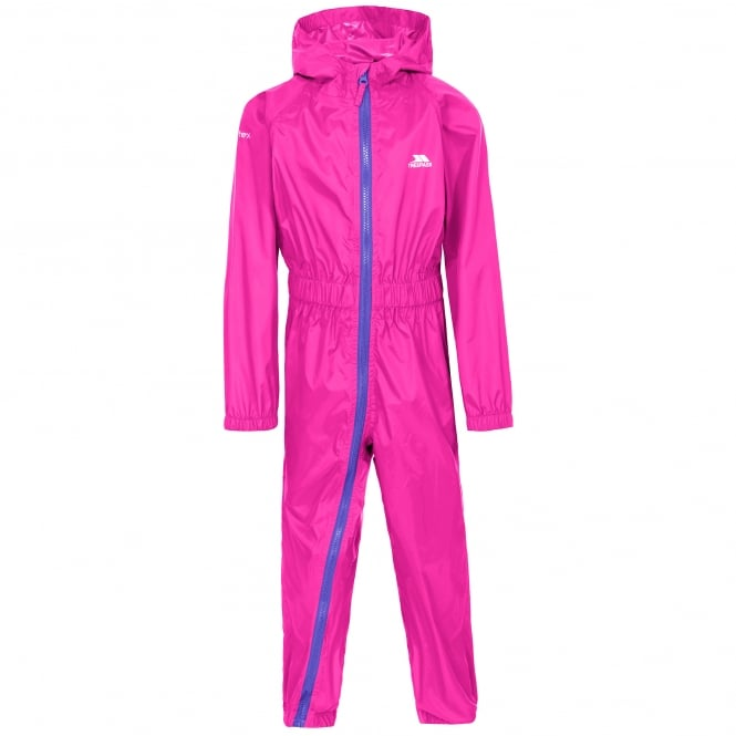 Trespass Kids Button II All In One Suit Hot Pink
