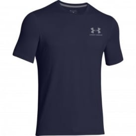 Mens Charged Cotton Left Logo T-Shirt Midnight Navy/Steel