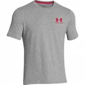 Mens Charged Cotton Left Logo T-Shirt True Grey/Red