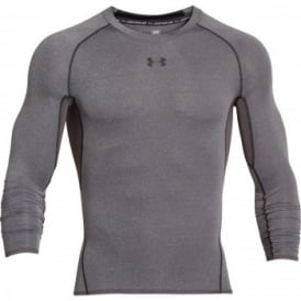 Mens HeatGear Armour Compression Long Sleeve T-Shirt Carbon/Black