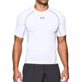 Mens HeatGear Armour Compression Short Sleeve T-Shirt White/Graphite