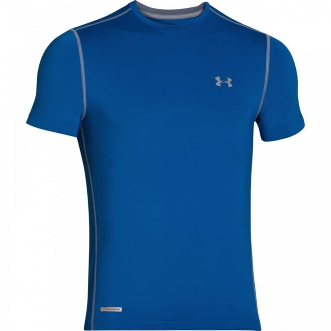 classic style cheap price on feet shots of Under Armour Mens HeatGear Sonic Fitted T-Shirt Scatter Blue/Steel ...
