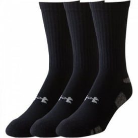 Mens UA HeatGear Crew 3 Pack Sock Black/White