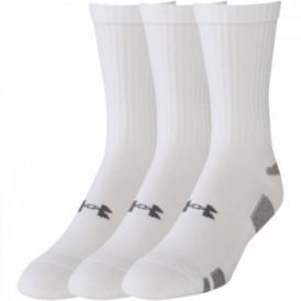 Mens UA HeatGear Crew 3 Pack Sock White/Black