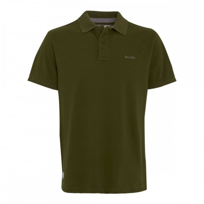 Weirdfish Mens Barros Pique Polo T Shirt Army Green Mens