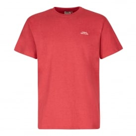 Mens Bones Embroidered T-Shirt Barberry Red