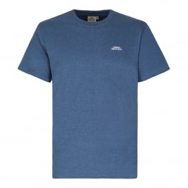 Mens Bones Embroidered T-Shirt Vintage Blue