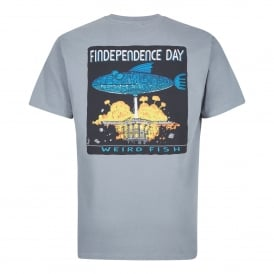 Mens Findependence Graphic T-Shirt Grey Blue